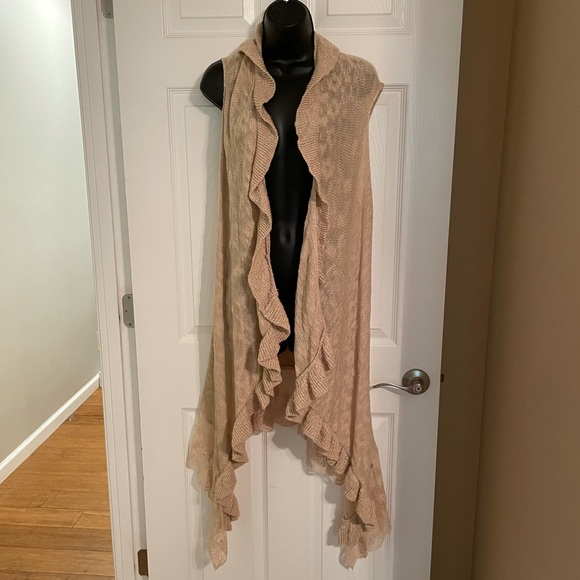 Umgee Lace and Knit Waterfall Vest